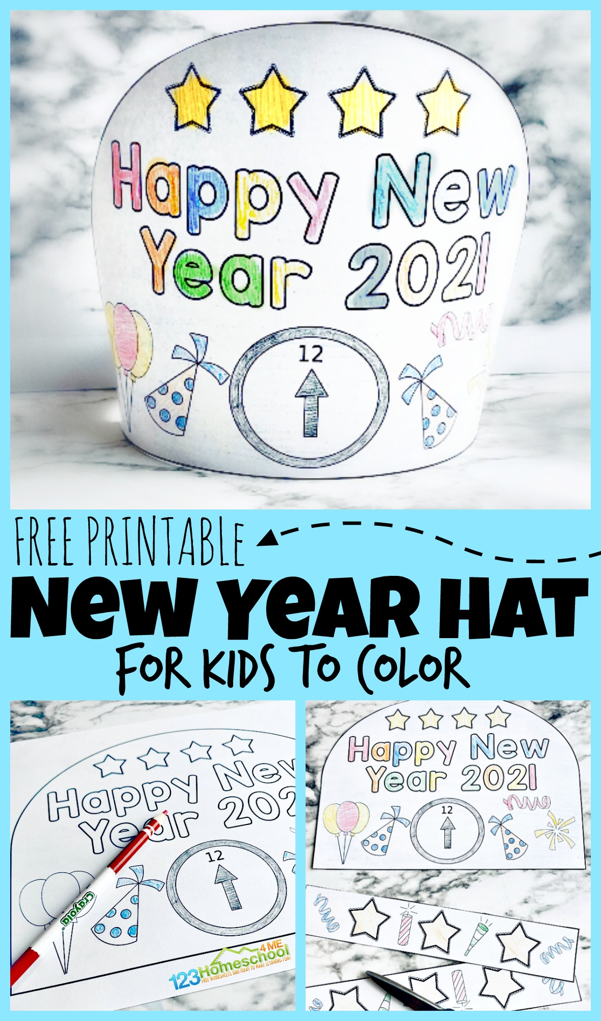 Free Printable New Years Party Hats For Kids To Color