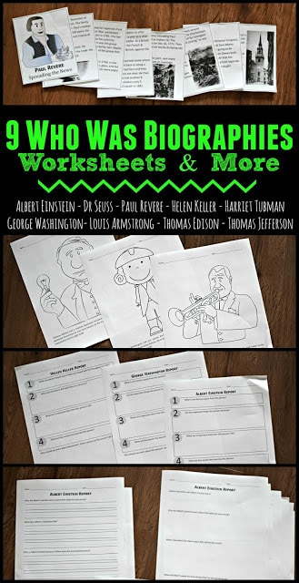 Make sure kids have good reading comprehension as as they read biographies about famous Americans with these who was series worksheets, coloring sheets, mini books, and study guides for elementary age kids. Study Guides included for: Albert Einstein, Dr. Seuss, George Washington, Harriet Tubman, Helen Keller, Louis Armstrong, Paul Revere, Thomas Edison, and Thomas Jefferson. Fun resource for homeschoolers, parents and teachers of kindergarten, first grade, 2nd grade, 3rd grade, 4th grade, 5th grade, or 6th grade students.