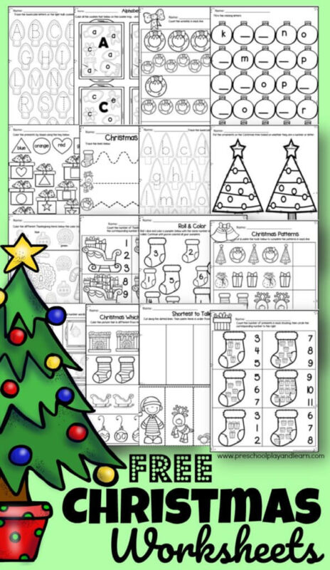 free chrsitmas worksheets for preschoolers and kindergartners