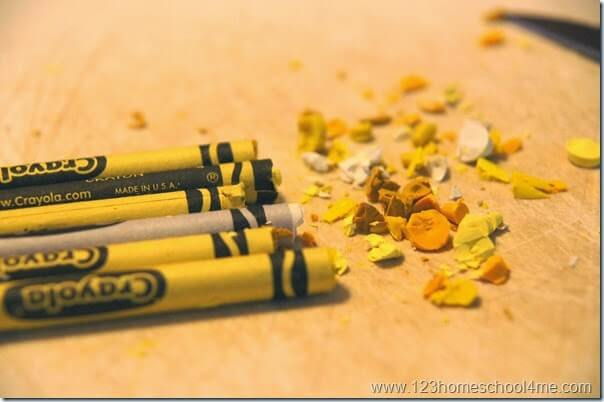 cut little flakes for quickeest crayon melting