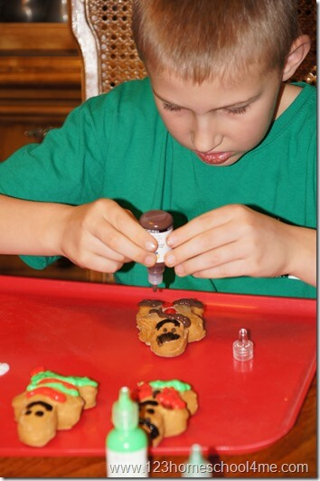 decorate your gingerbead ornaments with puffy paint