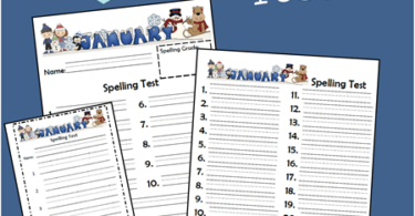 January Spelling Test for Kids