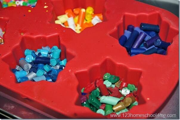 fill pan with crayon pieces