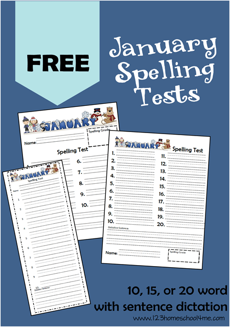 Free winter themed january speling tests