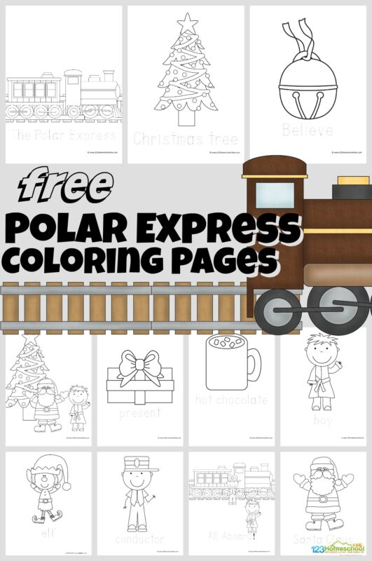 These handy, free printablepolar express coloring pages are perfect polar express activity to accompany reading The Polar Express book or watching the Polar Express movie. These free Christmas coloring pages are simple, making them ideal for toddler, preschool, pre-k, kindergarten, and first grade students. Simply download pdf file with a pack of many polar express coloring page templates to choose from including the conductor, Christmas tree, Santa Claus, train, and more! Thesepolar express coloring sheets are such a fun Christmas printable for December!