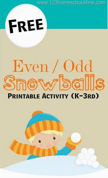 Help kids learn about even and odd numbers with this super cute, free printable snowball math game. Throw the snowballs based on if they are even or odd numbers in this fun Math Activity for Kindergarten, 1st grade, 2nd grade, and 3rd grade kids! SIimply download pdf file withodd and even number activity and you are ready to play and learn with a fun winter printables.
