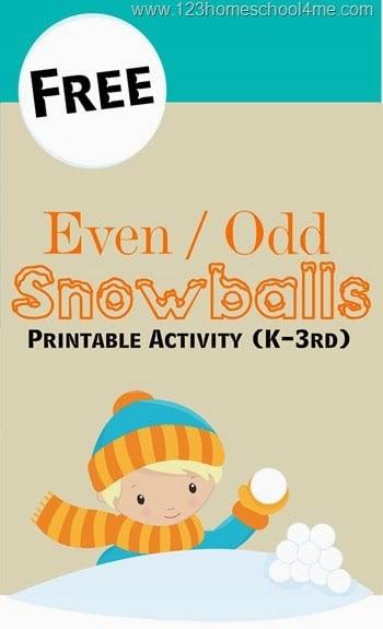 FREE Sorting Even Odd Numbers with this Snowballs activity (homeschool, math, math games, math activities, kindergarten, 1st grade, 2nd grade, 3rd grade)