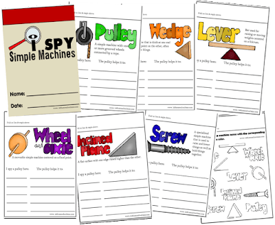 FREE I Spy Simple Machines Flip book in color or black and white