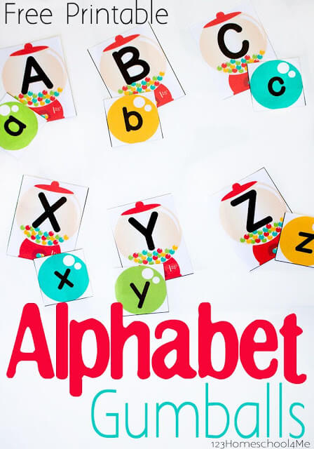 What kid doesn't love gum balls? This fun, hands-on letter matching activity allows preschool, pre-k, and kindergarten age kids to practice matching upper and lowercase letters. Thisalphabet matching game is an easy prep activity that will making working on letter recognition and learning your ABCs fun. Simply download pdf file with thealphabet matching game printableand you are ready to play and learn.