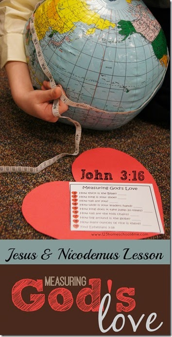 This measuring God's love activities is a really fun, hands on Sunday school lessons about Jesus and Nicodemus. This Bible lesson for preschool, pre-k, kinderarten, first grade, 2nd grade, 3rd grade, and 4th graders talks about measuring God's love using the text John 3:16. This is a wonderful lesson for the month of February and Valentines Day. We have a fun activity andJesus and Nicodemus craft. Simply download pdf file withsunday school valentine crafts and follow the directions for the activities and you are ready for a memorable, fun lesson on God's love for kids.