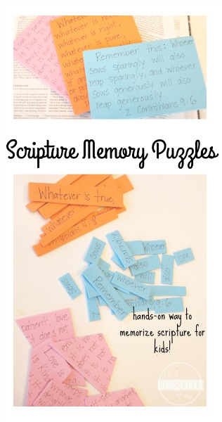 Scripture Memory Puzzles - help kids memorize Bible verses with this fun, hands on activity for kids. (Sunday school, Bible, 2nd grade, 3rd grade, 4th grade)