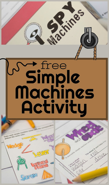 FREE I Spy Simple Machines Kids Activity - this is such a fun science scavenger hunt that helps kids learn, practice, and review screw, inclined plane, lever, wheel and axel, wedge. This educational kids activity is perfect for Kindergarten, first grade, 2nd grade, 3rd grade, 4th grade, and 5th grade kids. Can be used as a worksheet too