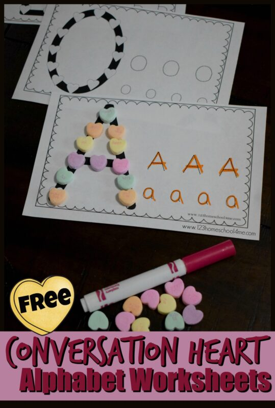 Grab these super cute valentine alphabet worksheets to practice forming letters by making them out of coversation hearts and tracing upper and lowercase letters.  This fun valentine activities for preschoolers is a super cute way to help toddler, preschool, pre-k, and kindergarten age children practice making their letters.  This free printable Conversation Heart Alphabet Worksheets includes a space to build the letter using conversation hearts and tracing for both upper and lower case letters. Simply download pdf file with valentine's day alphabet worksheets, grab some heart candy, and start practicing!