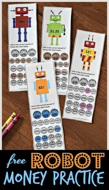 FREE Robot Money Practice - free printable math game to help kids practice counting coins in first grade and 2nd grade and 3rd grade #countingcoins #firstgrade #mathgames