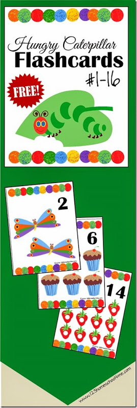 FREE Hungry Caterpillar Number Flashcards - kids will have fun practicing counting or playing number math games with these free printable hungry caterpillar themed #flashcards #numbers