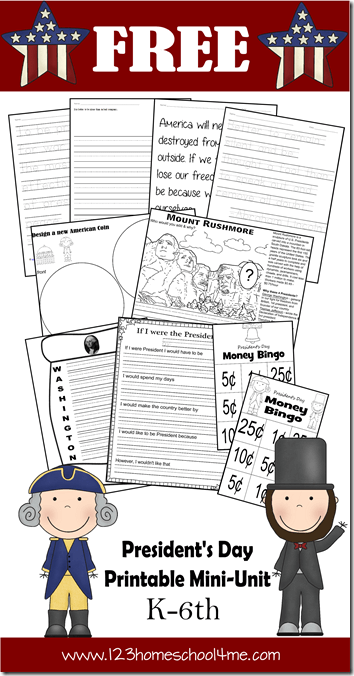 FREE President's Day Unit for K-6th grade. This is a great history for kids activity for February. Great for Homeschoolers.