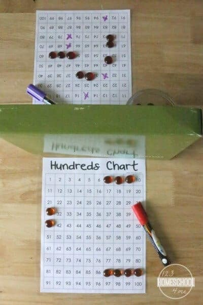 This 1 to 100 chart is a fun math game for practicing counting to 100 for kindergarten math and grade 1 math