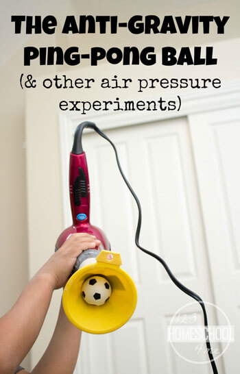 Anti-Gravity Ping Pong Ball Science Experiment - kids will love this crazy, fun air pressure experiment! Great for elementary age kids (homeschool, science, kids activities, kindergarten, 1st grade, 2nd grade, 3rd grade, 4th grade, 5th grade, 6th grade)