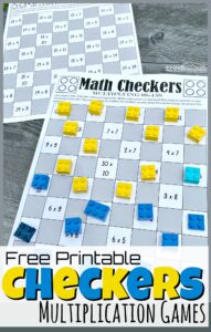 We love making math fun with fun, hands on math games! Instead of having your kids work on drilling multiplication tables, turn it into a fun multiplication activity instead! Download the pdf file with the Checkers printable multiplication games. We have lots of different board games to practice multiplying by 0s, 1s, 2s, 3s, 4s, 5s, 6s, 7s, 8s, 9s, 10s, 11s, 12s, 13s, 14s, and 15s. This free multiplication math game is perfect for practicing math with 2nd grade, 3rd grade, 4th grade, 5th grade, 6th grade, and 7th grade students.