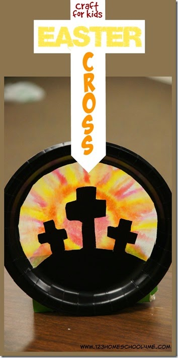 This beautifuleaster cross craft shows the cross at sunrise. This easter cross craft ideas is well suited for preschool, pre-k, kindergarten, first grade, 2nd grade, 3rd grade, and 4th graders. The technique is so much fun and produces a different sunrise or sunset every time with such a fun, simplepaper plate cross craft. Use thiscross easter craft in April or anytime you are talking about Jesus' resurrection at Sunday School as part of a Bible story lesson.