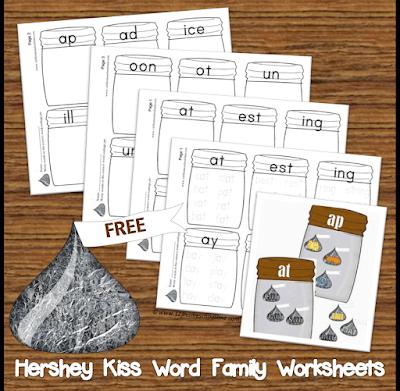 Hershey Kiss Word Family Worksheets