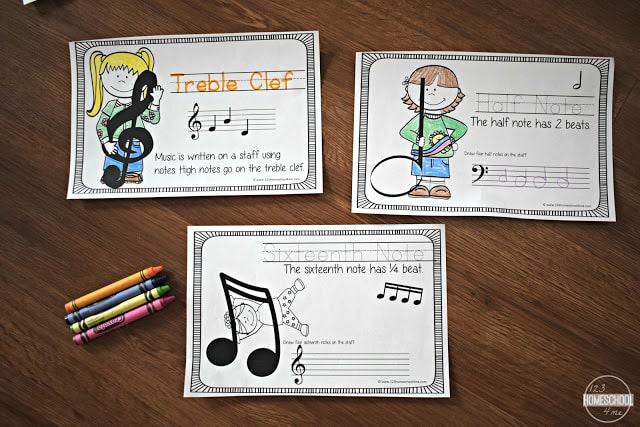 Introduction to Music for Kids include music theory worksheets to help elementary age kids learn about notes, staff, treble clef, rests and more