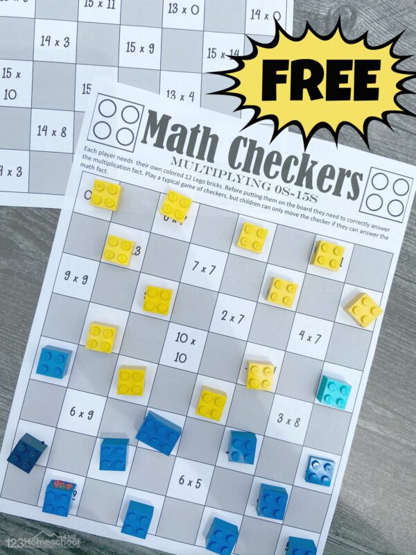 Printable Lego Math Checkers Game using lego bricks or skittle or m and m candy math
