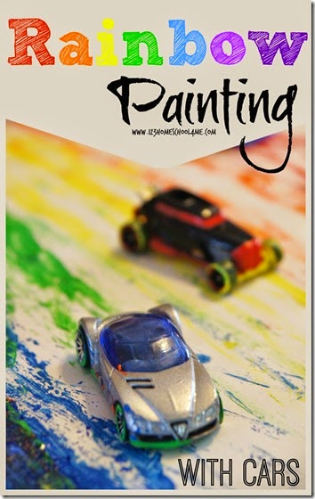 Rainbow Painting with Cars Kids Activities for Toddler and Preschool