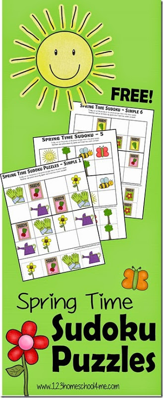Kids will have fun with this spring sudoku activity that will help them work on problem solving with fun spring printables. These spring worksheets are a math activity for preschool, pre-k, kindergarten, first grade, 2nd grade, and 3rd grade students that is so FUN, kids won't realize they are learning! In thesesudoku for kids printable,children will move around the spring theme items like seeds, gardening gloves, flowers, watering can, bees, sun, trees, and butterflies so tht each square, row, and column has only each picture once. Simply download pdf file with cut and paste worksheets and you are ready to try thesesudoku worksheets.