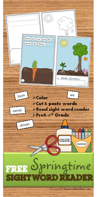 FREE Sight Word Reader for spring. This is so cool because not only will kids practice key DOlch sight words, but they will practice making sentences as they cut and paste their sentences together into their own reader they can color! LOVE THIS! Kindergarten, 1st grade, 2nd grade, 3rd grade, homeschool