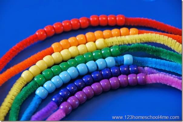 add rainbow colored pony beads