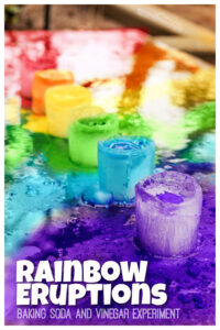 Kids are going to love this really fun Frozen Rainbow Eruptions science activity where kids will make beautiful rainbows as they create a chemical reaction! This baking soda and vinegar experiment! This rainbow activities for preschoolers usese a couple simple materials for a mesmerizing, colorful preschool summer activity! Use this rainbow science with toddler, preschool, pre-k, kindergarten, first grade, 2nd grade, and 3rd graders.