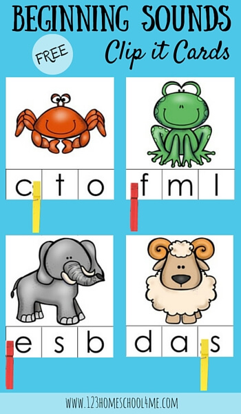 FREE Beginning Sounds Clip it Cards are a great way to help toddler, preschool and kindergarten age children who are beginning to learn letters and their sounds practice in a fun way (phonics, homeschool, preschooler)