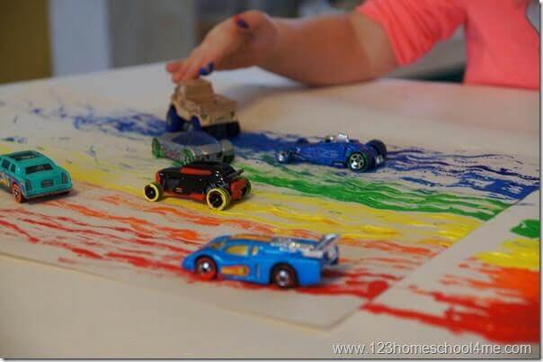 Rainbow-Painting-with-Cars-Kids-Activity