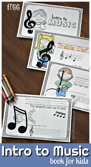 Looking for a fun, simple introduction to music for kids? This free printable music booklet is a playful way to introduce kids to music theory for kids. Simply print the music printables and o uare ready to play and learn about treble clef, base clef, whole note, quarter notes, and more as they trace, color, draw, and read music. This free kids music is perfect for pre-k, kindergarten, first grade, 2nd grade, 3rd grade, 4th grade, 5th grade, and 6th graders too.