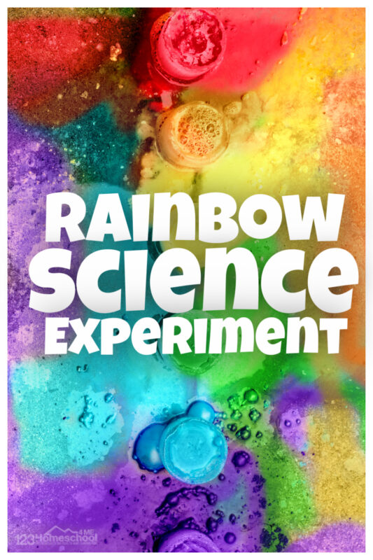 Beautiful rainbow eruptions is a fun baking soda and vinegar experiment where kids create rainbow science. Epic, summer rainbow activities for preschoolers.