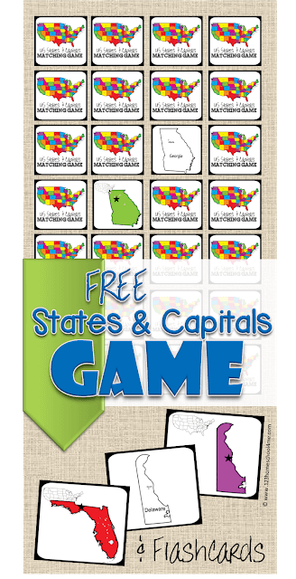 FREE State Capitals Game to help kids learn all 50 states and their capitals in a fun, hands on game for kids.