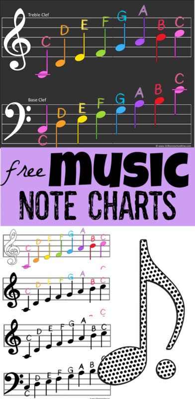 Is music theory part of your homeschool? It is easier than you think to teach kids how to read music on the treble clef and base clef with this handy music notes chart. Thismusic note chart is a free music printable for kids to reference as they learn to read music, learn piano, and more! There are colorful and black and white options in 3 sizes! Use this printable music notes chart with kindergarten, first grade, 2nd grade, 3rd grade, 4th grade, 5th grade, 6th grade, and middle school students too. Simply download pdf file with music notes chart printableand you are ready to work on reading music with thisnote chart.