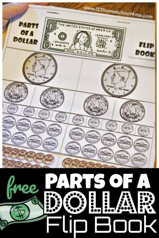 Help kids conceptualize the different value of American money and what each coins is worth with this clever, free printable Parts of a Dollar flip book. This money flip book is such a great visual for kids in Kindergarten, first grade, and 2nd grade students. Use this money activity to make learning about money fun!