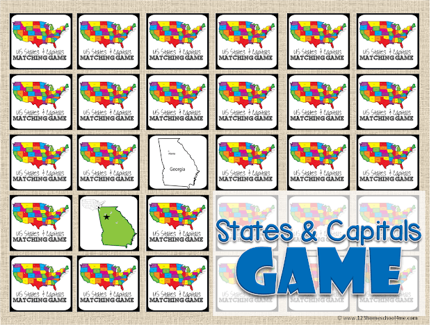 photo relating to States and Capitals Flash Cards Printable called Totally free Region Capitals Recreation 123 Homeschool 4 Me