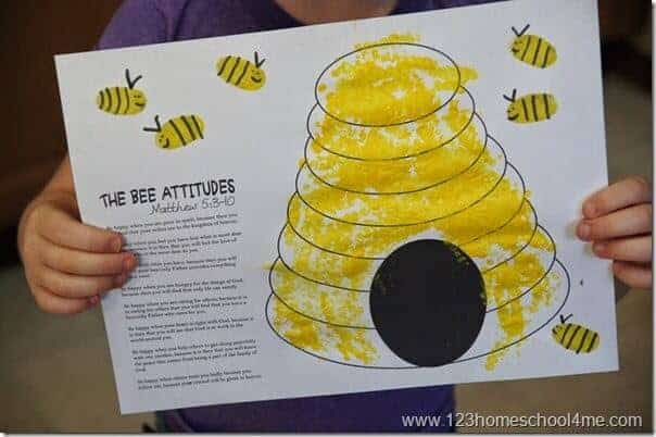 super cute, FREE beatitudes printable craft with fingerprint bees and corn printed hive