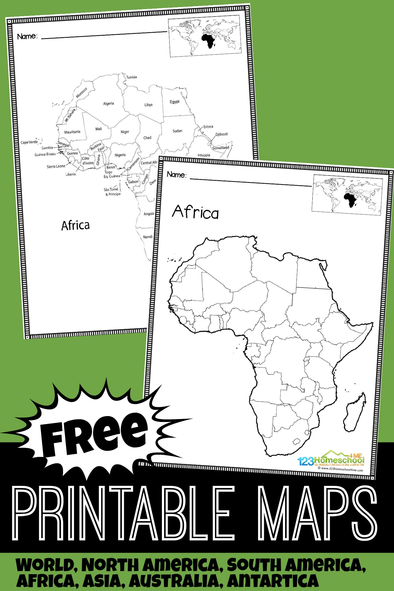 FREE Printable Maps - over 20 blank maps and labeled maps for kids to learn about the countries around the world - track the spread of coronavirus, events in history, rivers, mountains, capitals, continents, and more with these maps for kids learning geography #homeschool #printablemaps #education