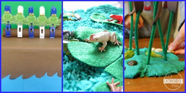 Lots of clever hands on frog crafts and frog activities to make learning about frogs for kids FUN