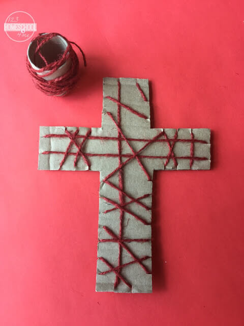 keep wrapping the cross ending on the back