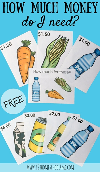FREE Grocery Task Cards - adding up american money