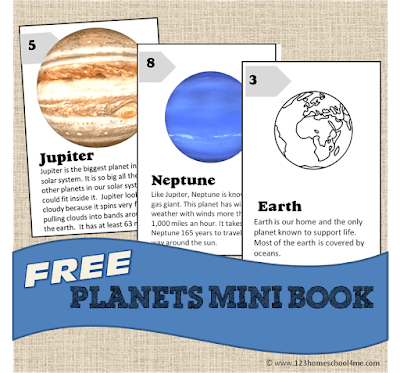 Planet Facts for Kids included in a free printable in black and white or color for kids learning about the planets in our solar system