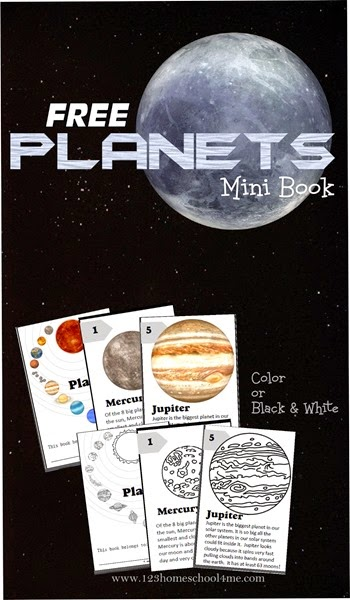 planets - free solar system planets mini book for kids