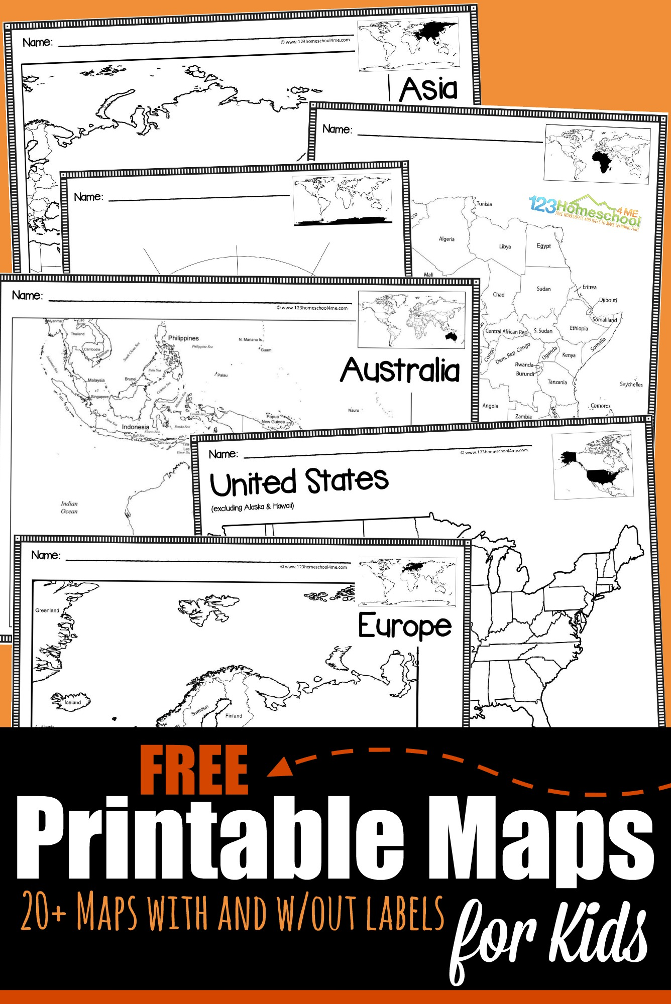 Whether you are learning about geography, countries around the world, world history,or just trying to show your kids the route you are taking on your next vacation, these printable maps for kidswill come in handy with preschool, pre k, kindergarten, first grade, 2nd grade, 3rd grade, 4th grade, 5th grade, 6th grade, 7th grade, jr high, and high school students.