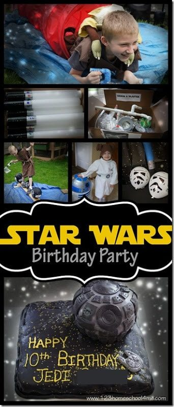 Star Wars Birthday Party - so many, fun clever star wars party theme ideas for kids of all ages. Includes star wars themed food, start wars games, star wars crafts, and more #starwars #starwarsbirthday #birthdaytheme