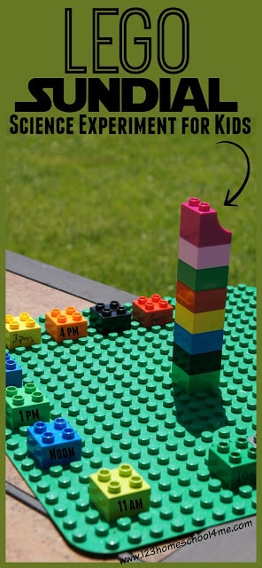 LEGO Sundial for Kids is a fun Science Experiment for learning about the sun and our solar system for preschool, kindergarten, 1st grade, 2nd grade, 3rd grade, 4th grade and more #solarsystem #lego #sundial